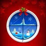 Snowy Window. Illustration of christmas snowy night thriugh decorated window stock illustration