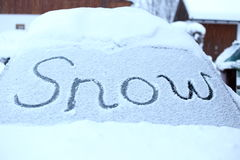 Snowy windscreen Royalty Free Stock Images