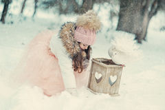 Snowy Winter And A Girl In A Cap With Doves Royalty Free Stock Photo