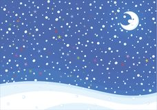 Snowy winter background with a moon vector illustration