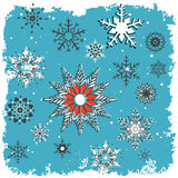 Snowy winter background. One 2016 Pantone colored snowflake  grunge frames - one white , one blue Royalty Free Stock Images