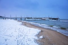 Snowy winter at Baltic Sea in Gdansk. Poland Royalty Free Stock Photos