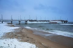 Snowy winter at Baltic Sea in Gdansk. Poland Stock Images