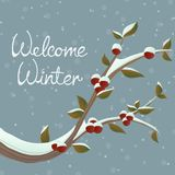 Snowy winter branch illustration with berry and leaf, in snowfall. Vector illustration for December and holiday in drawing style Royalty Free Stock Photos