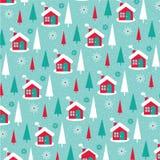 Snowy winter cabin background pattern. Christmas snowy winter cabin background pattern royalty free illustration