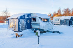 Snowy Winter camping Royalty Free Stock Image