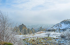 The snowy winter in Cappadocia Royalty Free Stock Photography