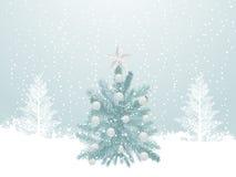 Snowy winter christmas tree scene vector illustration