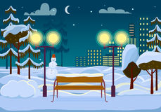 Snowy Winter City Park Vector Illustration Royalty Free Stock Photo