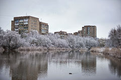Snowy winter city pond on a cloudy day Stock Photos