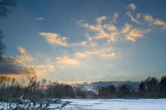 Snowy Winter Danube Backwater Landscape after Sunset Royalty Free Stock Photo