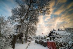 Snowy winter in Europe village
