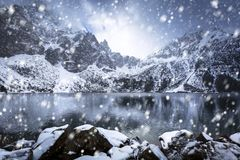 Snowy winter at Eye of the Sea lake. In Tatra mountains, Poland Stock Photography