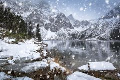 Snowy winter at Eye of the Sea lake. In Tatra mountains, Poland Royalty Free Stock Photography