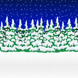 Snowy winter forest. Christmas landscape with snowflakes  Royalty Free Stock Images