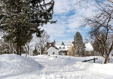 Snowy Winter houses Stock Images