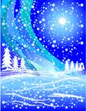 Snowy winter illustration. In blue and white royalty free illustration