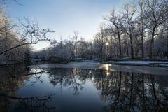 Snowy Winter Lake Scene Royalty Free Stock Photos
