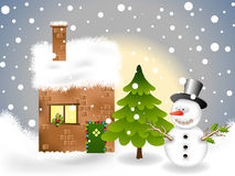 Snowy winter landscape. Snowy winter theme background for your postcard Stock Photography