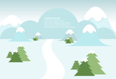 Snowy winter landscape. With mountains and trees Stock Image
