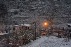 Snowy winter landscape in Campania, Southern Italy. royalty free stock image