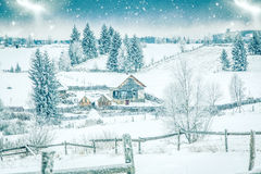 Snowy winter landscape Stock Images