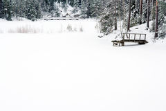 Snowy winter landscape in Finland Royalty Free Stock Photography