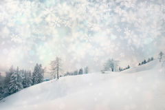 Snowy winter landscape scene Stock Photos