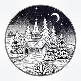 Snowy winter landscape. The village chapel and forest on Christmas eve seasons night, New Year. Rustic house, trees. Festive card. Vintage X-mas style postcard Royalty Free Stock Photo