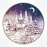Snowy winter landscape. The village chapel and forest on Christmas eve seasons night, New Year. Rustic house, trees. Festive card. Vintage X-mas style postcard Royalty Free Stock Photography