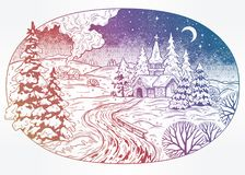 Snowy winter landscape. The village chapel and forest on Christmas eve seasons night, New Year. Snowy winter village landscape. Chapel, forest on Christmas eve Royalty Free Stock Image