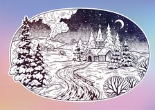 Snowy winter landscape. The village chapel and forest on Christmas eve seasons night, New Year Royalty Free Stock Photo