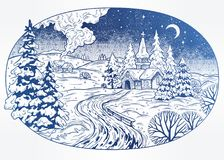 Snowy winter landscape. The village chapel and forest on Christmas eve seasons night, New Year Stock Image