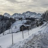 Winter landscape with farm, Slovenia. Royalty Free Stock Image