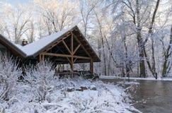 Snowy Winter Lodge stock image