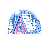 Snowy Winter Log House in Forest vector illustration