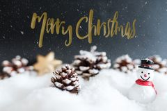 Snowy winter merry christmas greeting card with snowman Royalty Free Stock Image