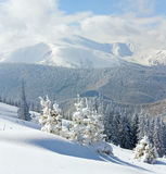 Snowy winter mountain landscape royalty free stock photography