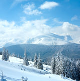 Snowy winter mountain landscape Stock Photography