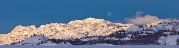 Snowy winter mountain ranges Yukon Canada panorama Royalty Free Stock Photography