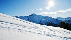 Snowy winter mountains stock image