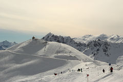 Snowy Winter Mountains - The French Alps Royalty Free Stock Photos