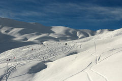 Snowy Winter Mountains - The French Alps - Skiing. And Snowboarding Stock Images