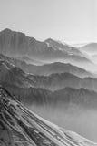 Snowy winter mountains in sun day. Georgia, from ski resort Gudauri. Stock Photography