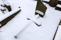 Snowy winter mystery old Prague Cemetery Olsany, Czech Republic Stock Photography