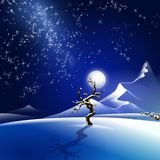 Snowy winter night illustration Stock Photo