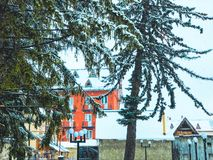 Snowy winter noon. Snow covered trees, the roofs of small houses in the yard. Mountain ski resort Bakuriani.  stock images