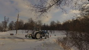 Snowy winter park stock footage