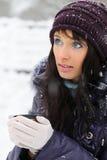 Snowy winter portrait stock photography