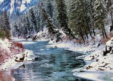 Snowy Winter River Stock Image